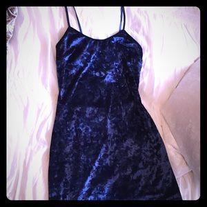 Blue Crushed Velvet open back dress